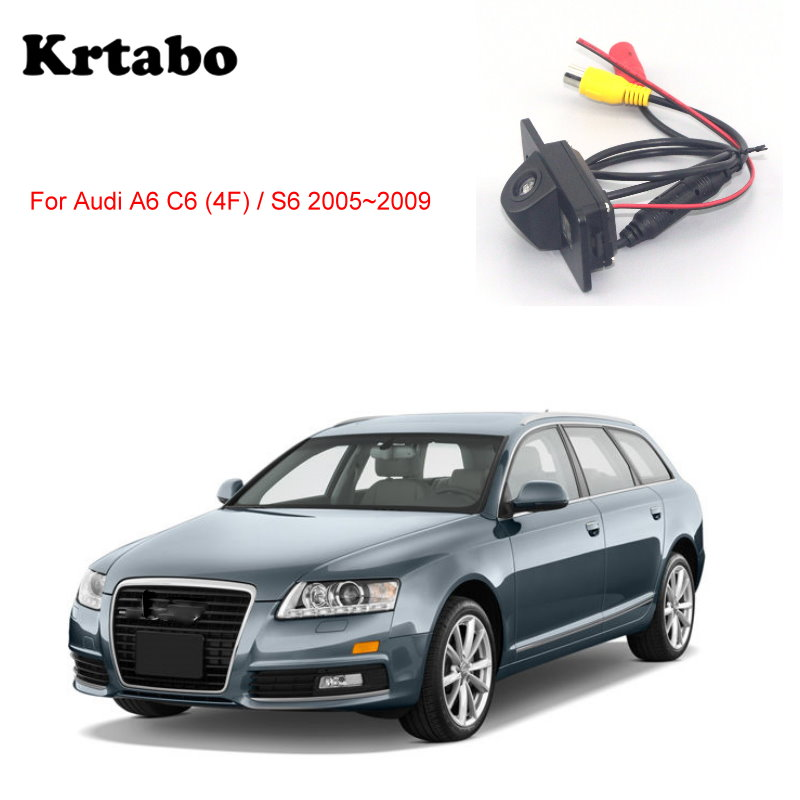 krtabo Car rear camera For Audi A6 C6 (4F) / S6 2005 2006 2007 2008 2009night vision reversing camera CCD HD waterproof camera image