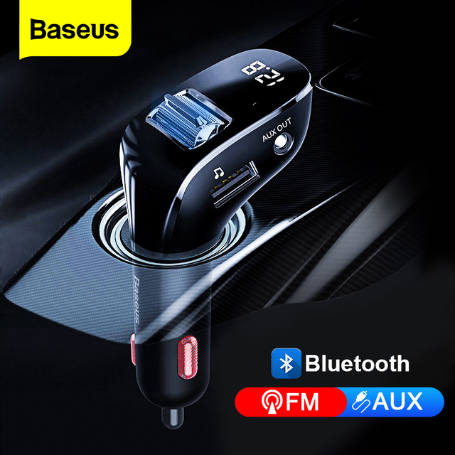 Baseus USB Car Charger For Phone FM Transmitter Bluetooth 5.0 Handsfree Audio MP3 Player Aux Bluetooth Adapter Fast Charging