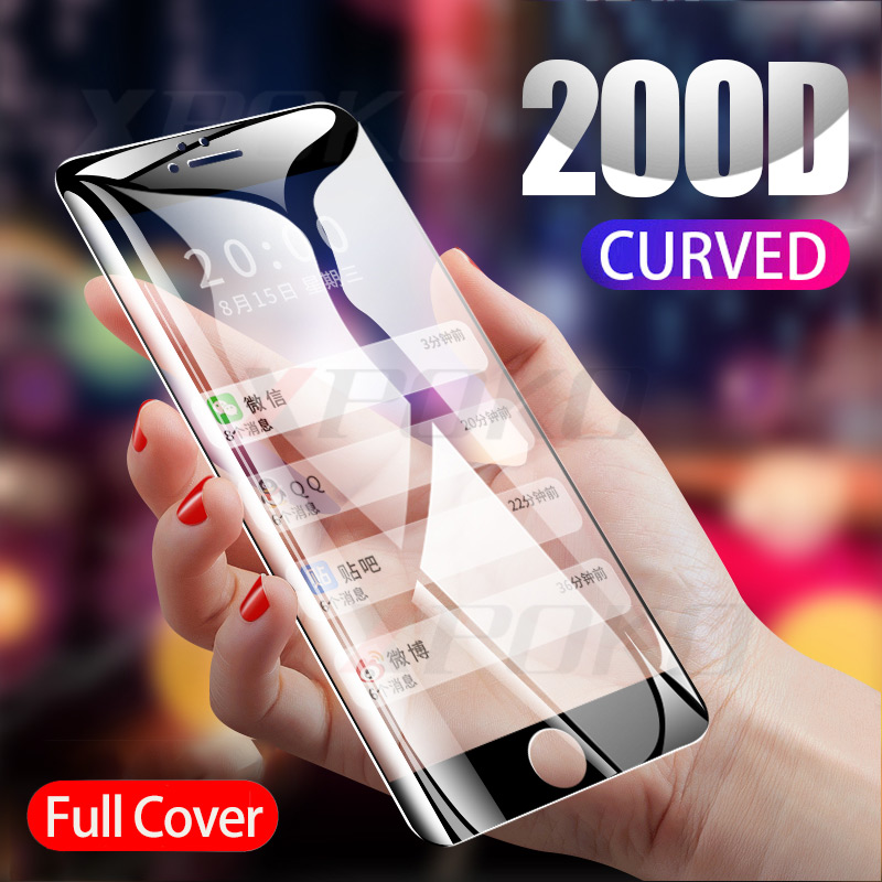 200D Curved Edge Tempered Glass On The For IPhone 8 7 6 6s Plus Screen Protector IPhone 11 Pro X XR XS Max Protective Glass