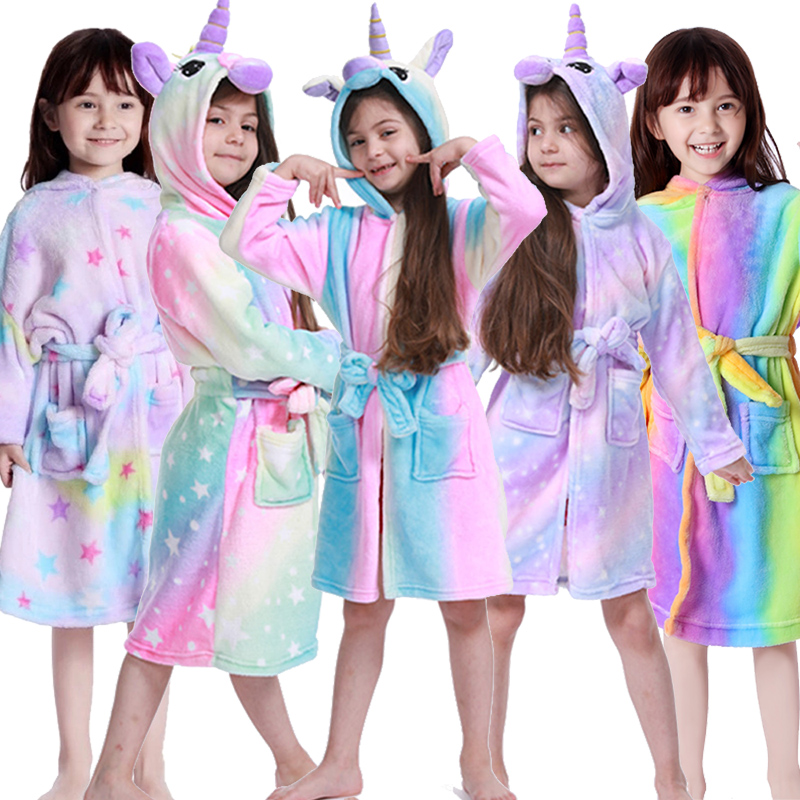 Kigurumi Unicorn Hooded Children Bathrobes Baby Rainbow Bath Robe Animal For Boys Girls Pyjamas Nightgown Kids Sleepwear 3-11Y