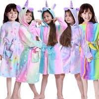 Kigurumi licorne à capuche enfants peignoirs bébé arc-en-ciel peignoir Animal pour garçons filles Pyjamas chemise de nuit enfants vêtements de nuit 3-11Y