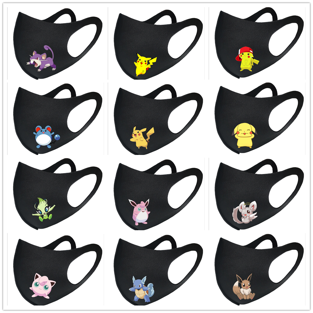 Cartoon Pikachu Pokemon Mouth Mask Breathable Face Mask Reusable Anti Pollution Face Shield Wind Proof Mouth Cover