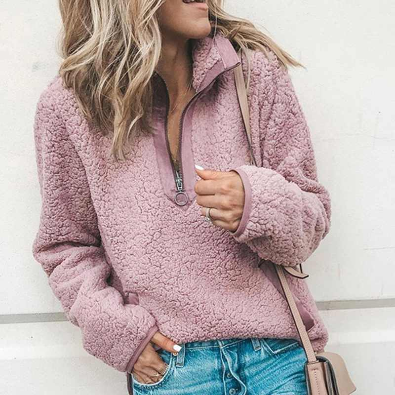 2020 Spring Women Sherpa Sweaters Oversized Fleece Hooded Pullover Loose Fluffy Coat Zipper Coat Jacket Coat Top Outwear