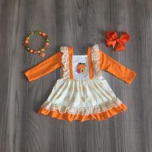 Осенне зимнее платье для маленьких девочек на Хэллоуин, детская одежда из хлопка, оранжевое клетчатое платье с оборками и длинным рукавом, аксессуары для детей