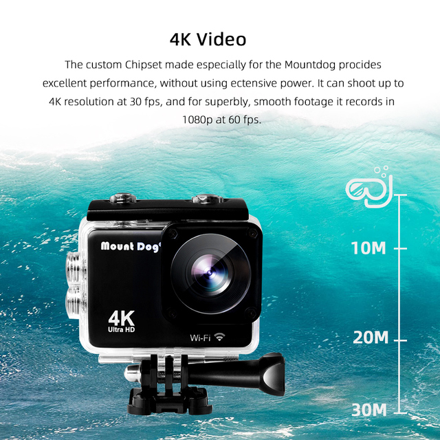 MountDog Underwater Ultra HD 4K Action Camera With WiFi Sports Video Recoding Waterproof Action Cam 4