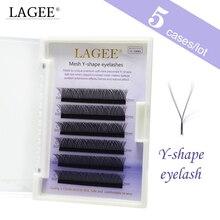 LAGEE pestañas postizas en forma de Y de visón, extensiones de pestañas postizas YY, 5 unidades, suaves Y naturales, útiles de maquillaje