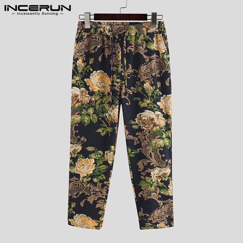 INCERUN Floral Print Pants Men Joggers Drawstring 2020 Casual Pockets Leisure Pants Streetwear Vintage Ankle-Length Trousers Men