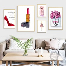 Watercolor Paris Perfume Flower High Heels Nordic Posters And Prints Wall Art Canvas Painting Picture for Living Room Decor