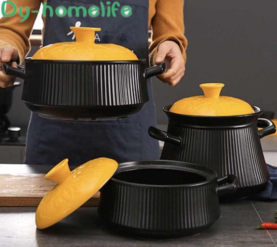 マルチサイズ日本の創造的な垂直パターン黄色カバーセラミック鍋レストランキッチン家庭用暖炉スープポット