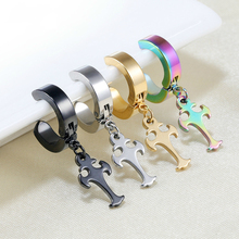 Fashion Unisex Punk Rock Stainless Steel Clip Ear Nail Earrings For Men Without Piercing Stud Multicolor Pendant Cross