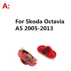 Image 2 - 2PCS 자동차 LED 문 로고 레이저 프로젝터 유령 그림자 환영 빛 Skoda Octavia A5 2005 2011 2012 2013 Superb Febia Roomster