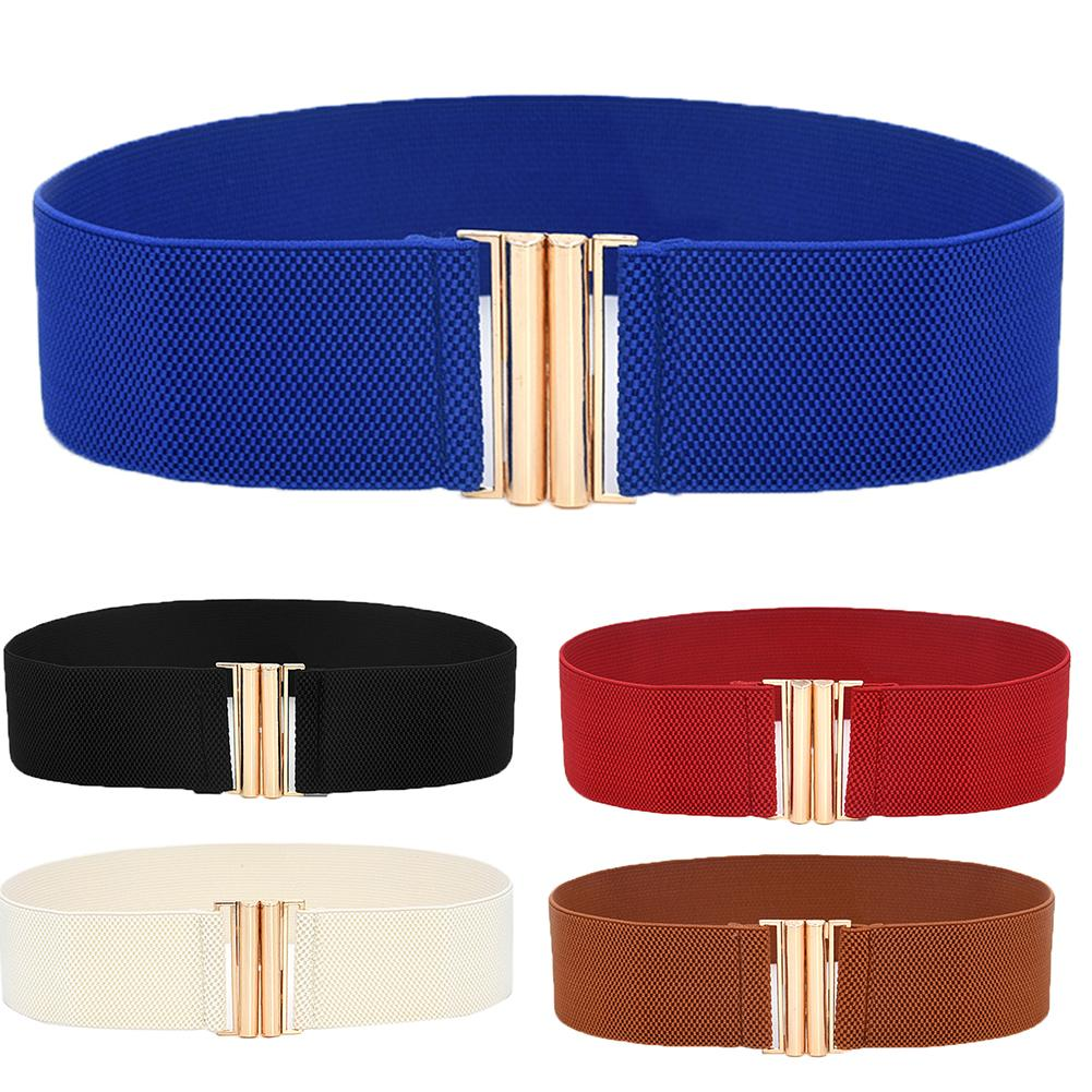 New Lady Solid Color Buckle Wide Faux Leather Elastic Waistband Belt For Jeans Pants