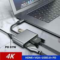Adaptador de Audio y vídeo 4 en 1 convertidor USB tipo C a HDMI 4K con HDMI + VGA + PD + cargador rápido de interfaz USB3.0 para Macbook pro