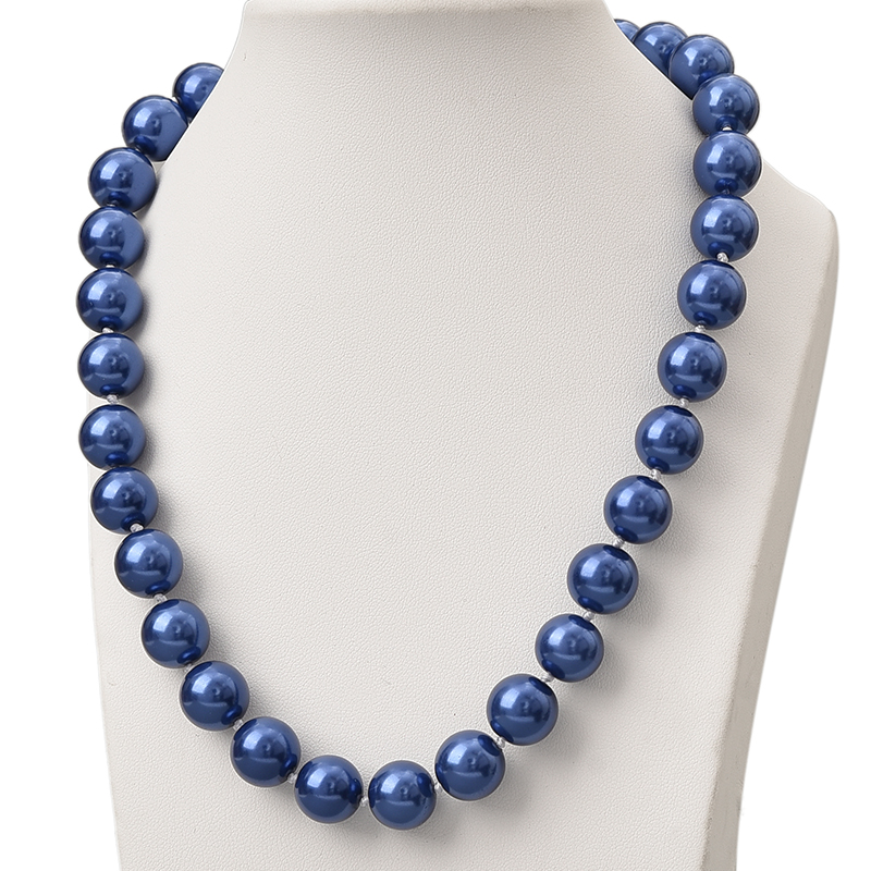 Fashion Charm 10mm blue Sea Shell Pearl Necklace Women Girls Wedding Christmas Gifts DIY Jewelry Making Hand Made 18