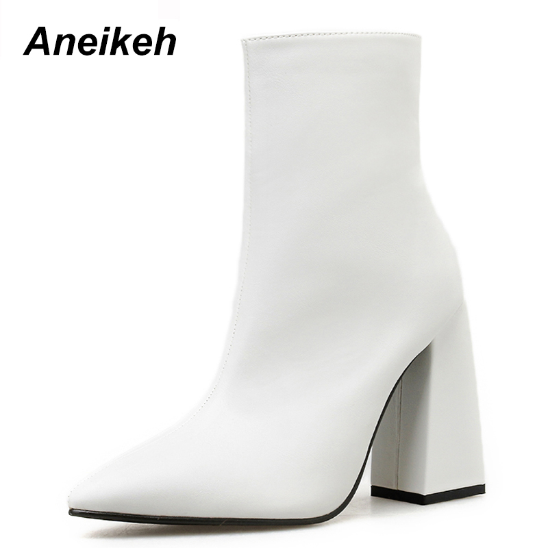 Aneikeh New 2019 Concise PU Women Boots Pointed Toed Zip Solid Shoes Dance Wedding Square High Heel Ankle Boots White Size 35-40