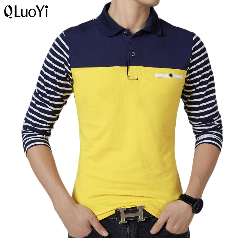 Spring Men Polo Shirt Striped Long Sleeve Polo Shirts Otton+spandex Yellow Blue Big Size Autumn Slim Fit Tops Clothes For Men