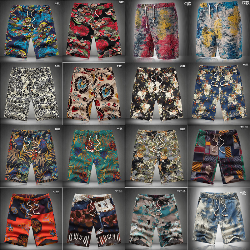 Summer New Style Men's Flax Flower Shorts Men Plus-sized Casual Pants Elastic Waist Beach SHORTS Special