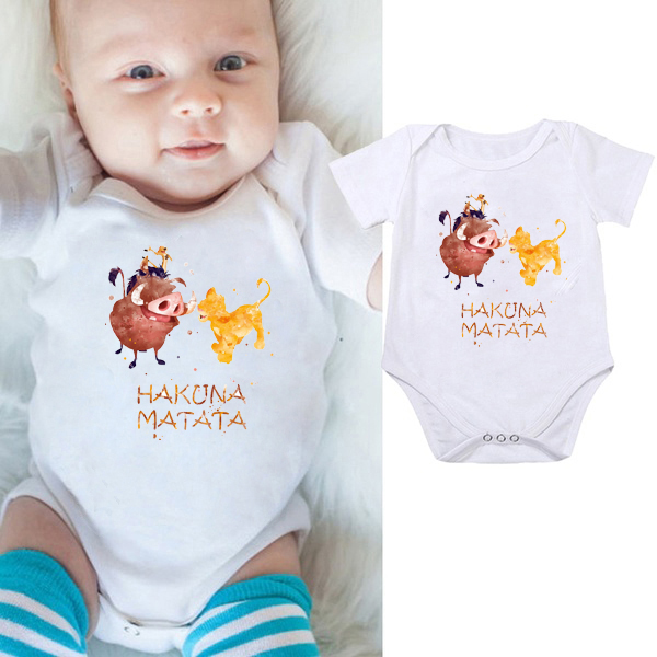 DERMSPE 2019 Jumpsuits Newborn Baby Boy Girl Clothes Rompers Costumes HAKUNA MATATA Outfits Set Hot Sales White
