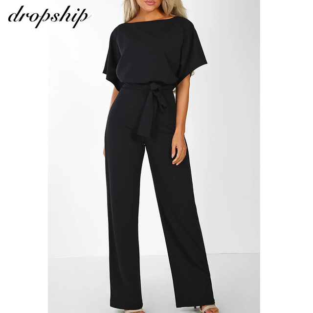 Dropship Jumpsuit Rompers Womens Overalls Women Jumpsuits 2019 Streetwear Plus Size Romper Spring Summer Lace-up Short Sleeve