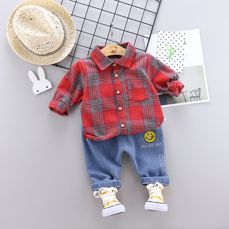 baby clothes sets 2pcs Autumn Children Boys clothes Casual Long Sleeve Plaid Print Shirt Tops Cartoon Denim Pants Trouser Set in Clothing Sets from Mother Kids