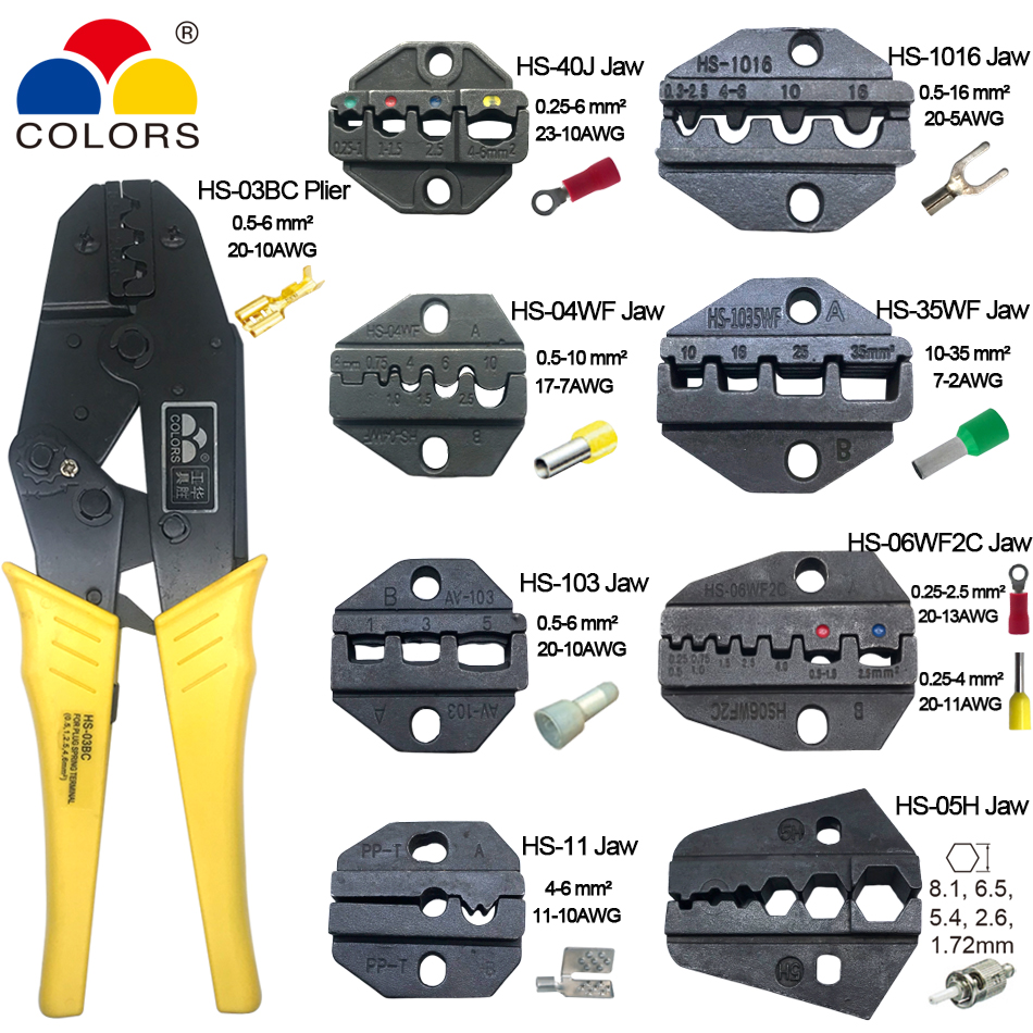 crimping tool pliers HS-03BC <font><b>8</b></font> jaws for <font><b>plug</b></font>/tube/insulation/crimping cap terminals crimper plier hand tool set alicates kit image