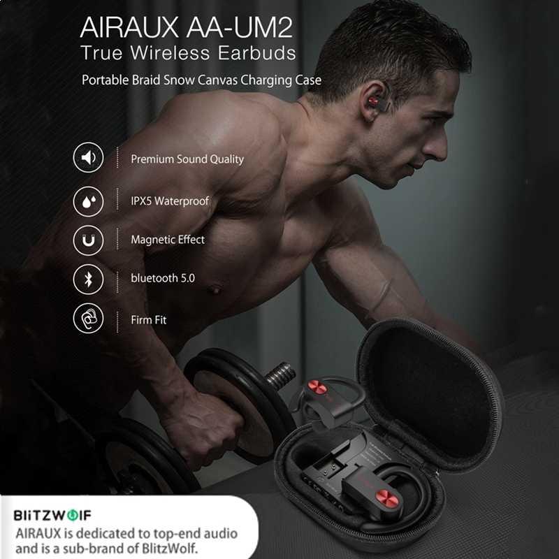 BlitzWolf AIRAUX UM2 TWS Sport ecouteurs coupe ferme casque sans fil bluetooth écouteur HIFI mains libres casque IPX5 étanche