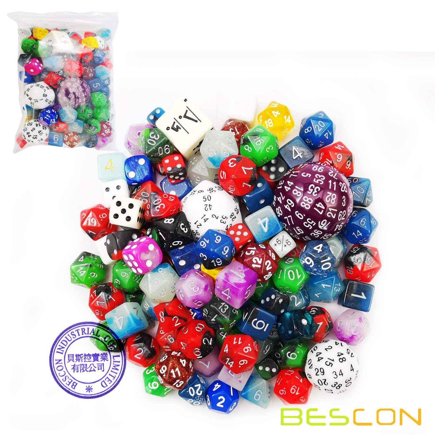 Bescon Big Better Rejects Dice Pack 100+, Second Dice Set 100pcs