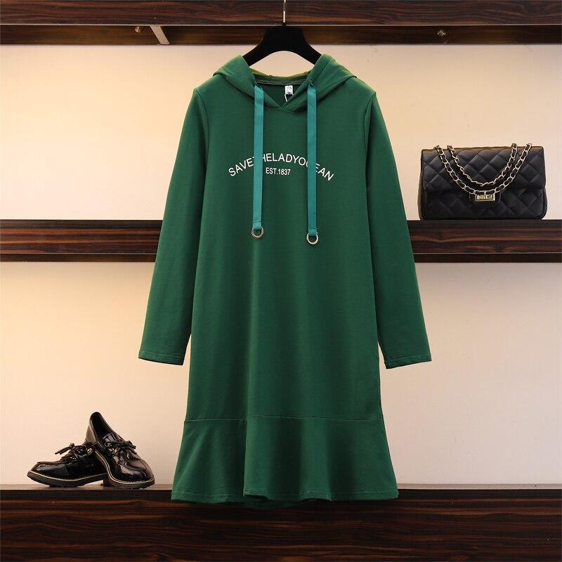 XL-5XL grande taille femmes mignon oreille à capuche sweat robe automne 2019 coton à manches longues lâche décontracté à volants robes vert