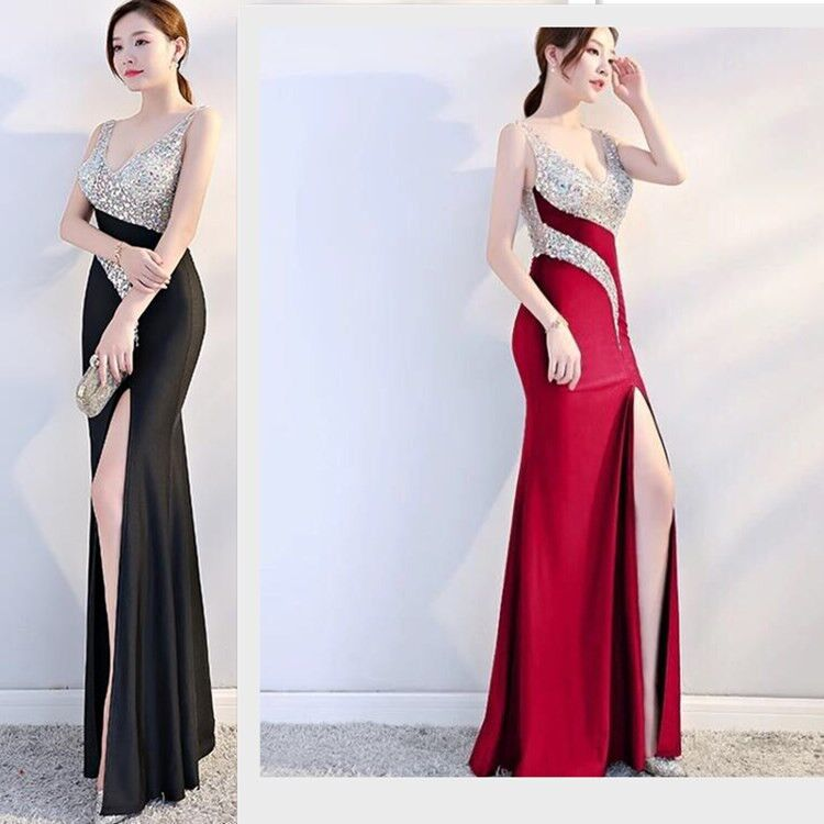 Evening Show WOMEN'S Dress Sexy Deep V-neck Backless Sequined Evening Gown Summer Style Contrast Color Spell Slim Fit Slit Sleev