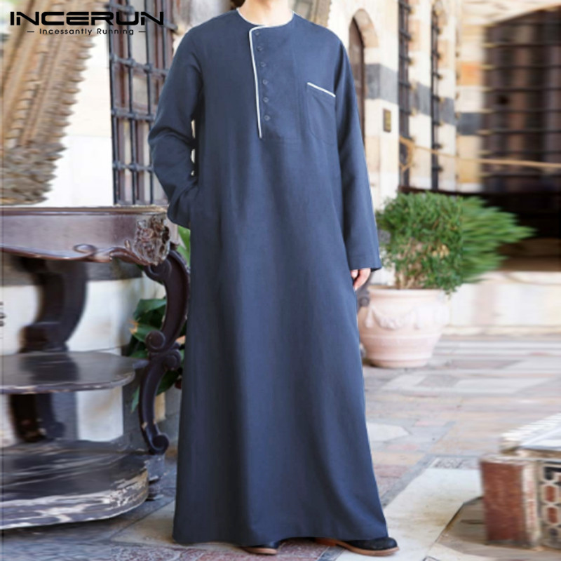 INCERUN Muslim Clothes Men Arabic Islamic Kaftan Solid Color Long Sleeve Round Neck Men Jubba Thobe Loose Vintage Robes S-5XL