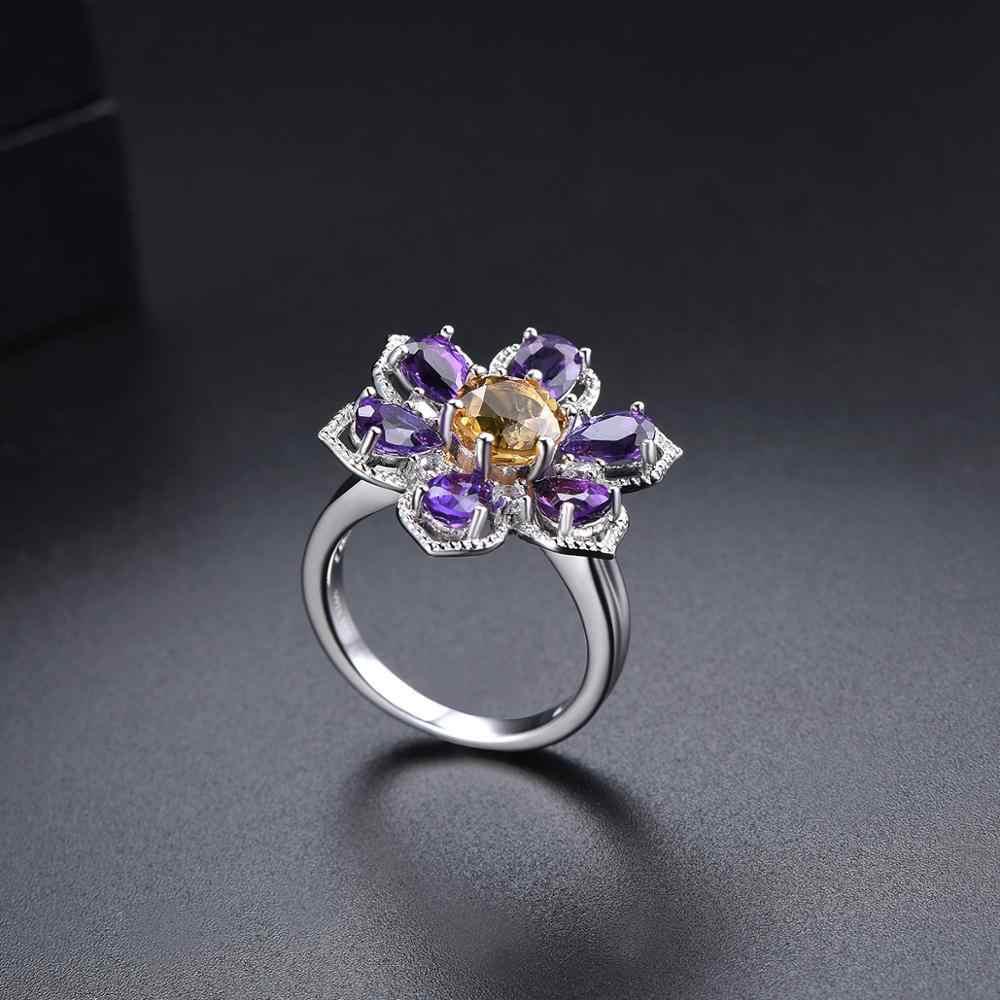 Hutang 925 srebrny pierścień ametyst cytryn naturalny kamień szlachetny kwiat grzywny elegancki biżuteria dla kobiet prezent na boże narodzenie