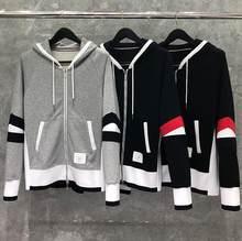 2021 moda tb thom marca hip hop roupas com capuz jaqueta de algodão das mulheres dos homens moletons hoodies retalhos casual casaco esportivo