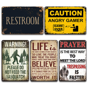 WARNING SASQUATCH Metal Wall Art Tin Sign Vintage Welcome RULES Poster Signs Farmhouse Home Decor RESTROOM DOOR Signs