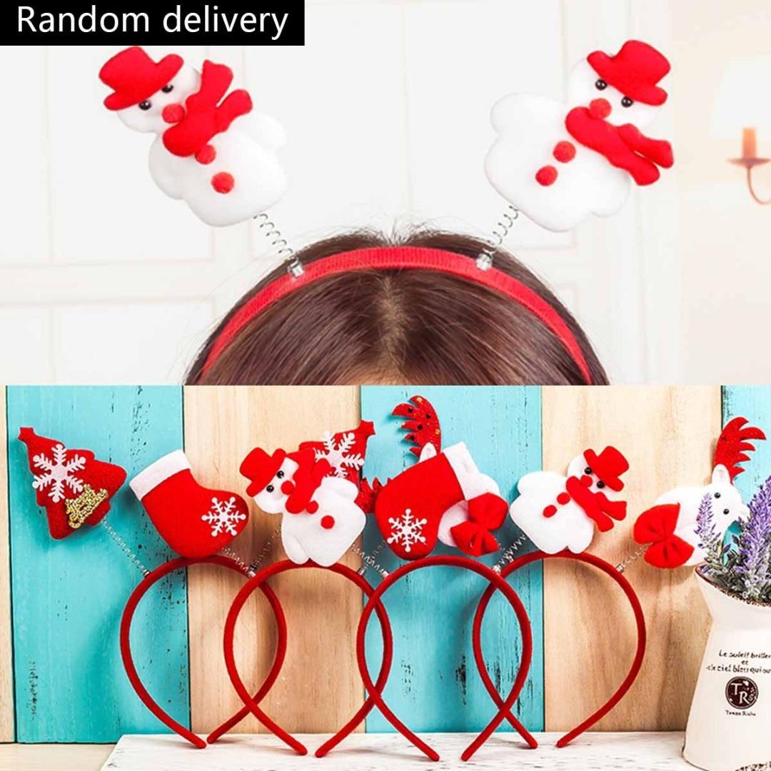 Vintage Christmas Headwear Christmas Tree Santa Claus Stocking Reindeer Elk Antlers Snowman Women Headband Trendy Party Decor