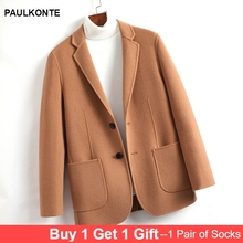 PAULKONTE Autumn Winter Mens Double Faced Wool Woolen Coat High Quality Fashion Trend Wild M-8XL Large Size Jacket