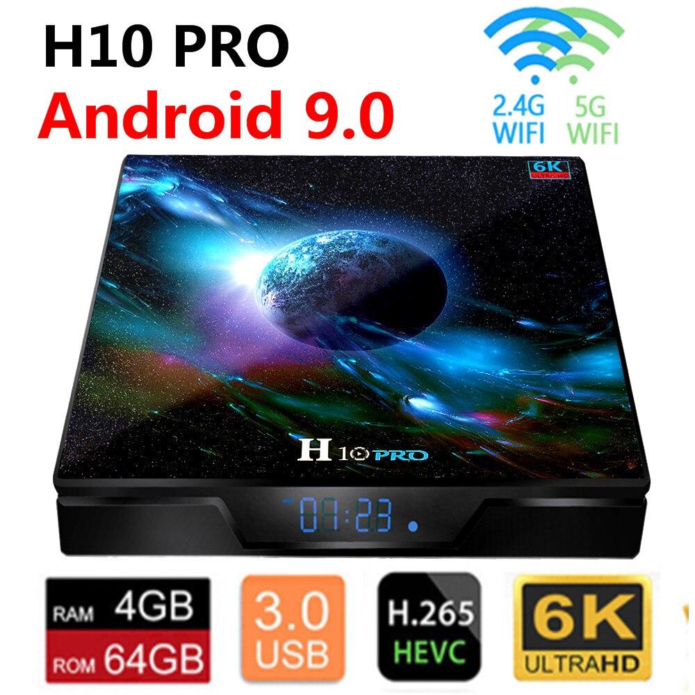 H10 4+64G Allwinner H6 Quad Core Android 9.0 WIFI 6K 3D H.265 Smart TV Box DE