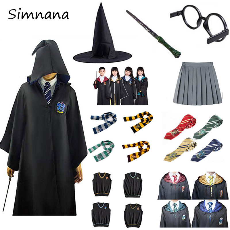 Cos Costume Robe Potter Gryffindor/Slytherin/Ravenclaw/Hufflepuff Cosplay Potter Costumes Kids Adult Cape Cloak Birthday Gifts