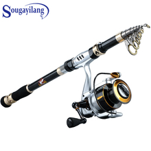 Sougayilang 1.8- 3.6m Spinning Fishing Rod Combo Telescopic and 5.0:1 Reel Travel Pesca