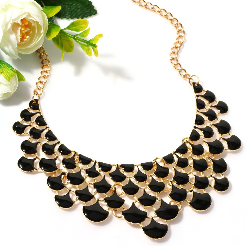 New Gem Beads Choker Fashion Collar Gold Color Chain Necklace For women Collier Statement Bib Pendant Necklace Women Jewelry