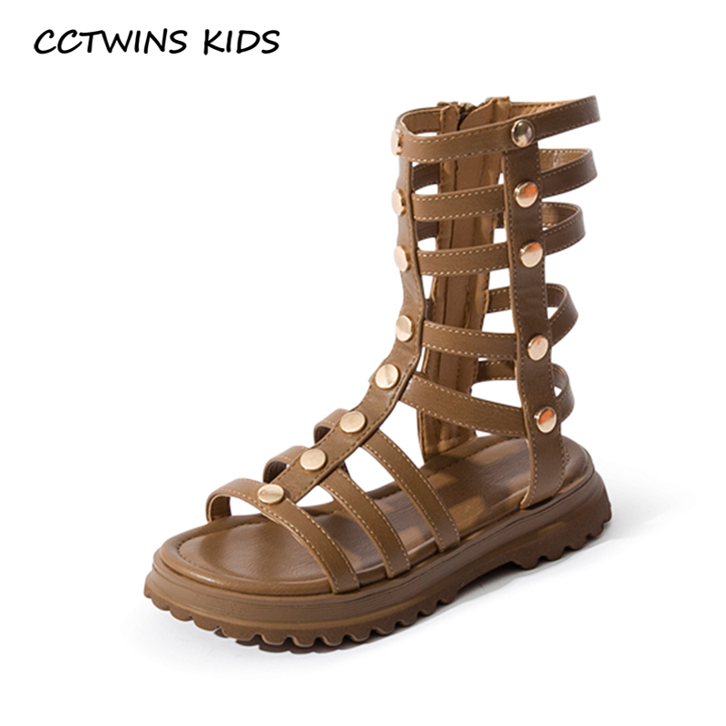CCTWINS Kids Shoes 2020 Summer Baby Girls Brand Gladiator Sandals Children Pu Leather SHoes Toddlers Fashion Stud Shoes BG193
