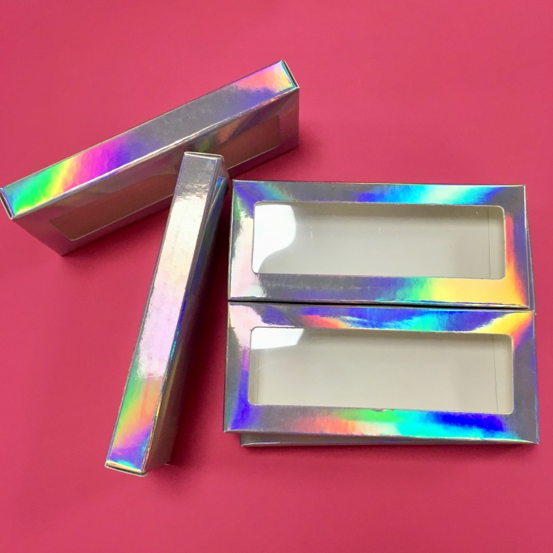 Custom Eyelashes Packaging Empty Holographic Lash Box False Eyelashes