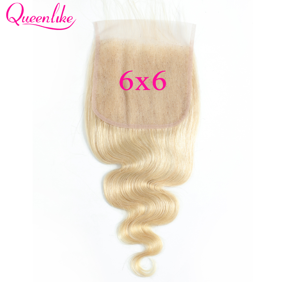 Blonde Color 613 6x6 Lace Closure Big Lace Size Pre Plucked With Baby Hair Queenlike Brazilian Body Wave Remy Hair Closure
