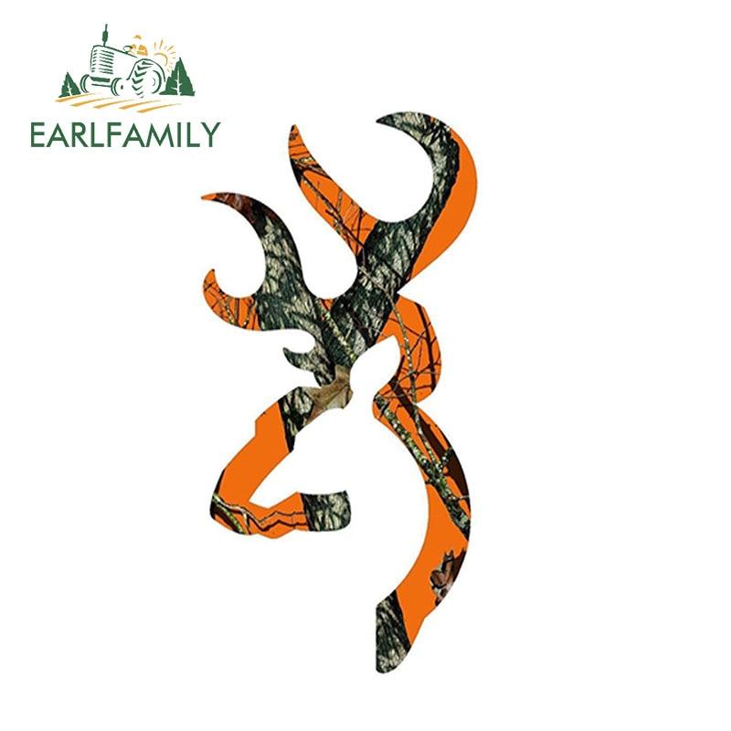 EARLFAMILY 13cm x 7cm Browning Style Buck Realtree Orange Camo Camouflage Hunting Car Sticker Orange Vinyl Decal