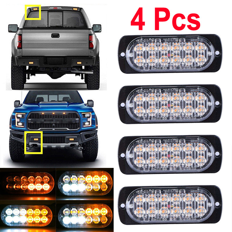4pcs  12-24V Car Truck  Warning Strobe Light 12 LED Emergency Strobe Light Bar Hazard Beacon Flashing Lamp
