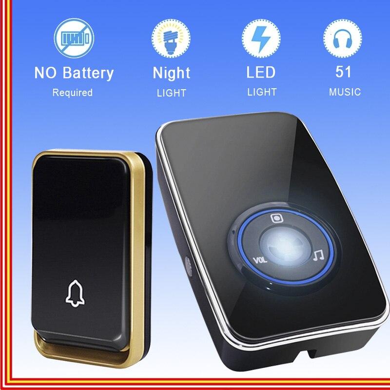 THE EU plug self-fed night light sensor battery-free doorbell Wireless doorbell D'Water-proof door 1 button 1 second receiver