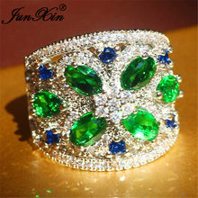 Luxury Geometric Big Wedding Rings For Women Men 925 Silver Color Marquise Horse Eye Green Blue Crystal Engagement Ring Jewelry(China)