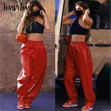 Hawthaw kobiety jesienno-zimowa impreza klubowa Pu skórzane czerwone luźne kieszenie grube jednolity kolor długie spodnie 2021 jesienne ubrania Streetwear