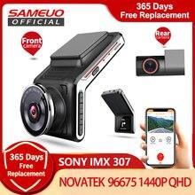 U2000 sameuo traço cam frente e traseira wifi 1080p câmera de visão lente do carro dvr 2k gravador vídeo visão noturna automática 24h estacionamento monitor