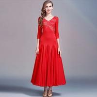 Lace Ballroom Dance Dress Standard Ballroom Billowing Waltz Tango Dress