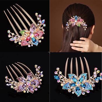 Austriacka spinka do włosów z kryształu górskiego kwiat liść dla nowożeńców kryształowe ozdoby do włosów biżuteria ślubna elegancka ozdoba do włosów akcesoria tanie i dobre opinie CN (pochodzenie) Ze stopu cynku KRYSZTAŁ GRZEBIENIE DO WŁOSÓW Kobiety Śliczne Romantyczne Hairwear Korean style Pink purple blue Multicolor champagne